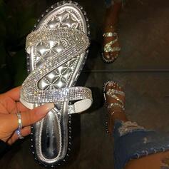 De mujer PVC Tacón plano Sandalias Encaje Pantuflas con Rhinestone Rivet zapatos