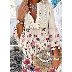 Nadrukowana/Kwiatowy Rękawy 3/4/Rozkloszowane rękawy Koktajlowa Nad kolana Casual Tunika Sukienki