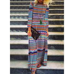 Geometric Print 3/4 Sleeves Shift Casual Maxi Dresses