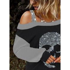 Цветной блок Блестки Одно плечо Длинные рукова Повседневная Блузы