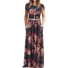 Nadrukowana/Kwiatowy Krótkie rękawy W kształcie litery A Łyżwiaż Casual Maxi Sukienki
