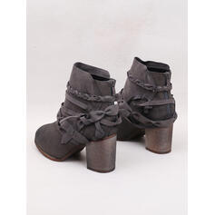 PU Široký podpatek Kotníkové Boty Kolem špičky S Zip S pleteným páskem Solid Color obuv