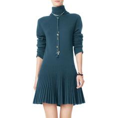 Jednobarevné Hrubá pletenina Rolák Neformální Dlouhé Svetrové šaty