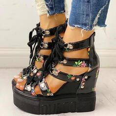 De mujer PU Tipo de tacón Sandalias Plataforma Cuñas Encaje con Hebilla Flor Cruzado zapatos