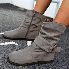 De mujer PU Tacón plano Botas al tobillo Martin botas Encaje con Hebilla Cremallera zapatos