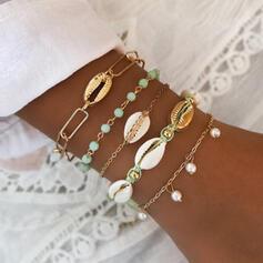 Con estilo Atractivo Aleación con Perlas de imitación Cáscara Sistemas de la joyería Pulseras Joyas de playa (Conjunto de 5 pares)