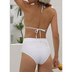 Color Sólido Cintura Alta Sin Mangas Sexy Bikinis Trajes de baño
