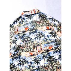 Asculino Impressão havaiano Camisas da praia