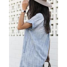 Jednolita Krótkie rękawy Koktajlowa Nad kolana Casual Koszula Sukienki