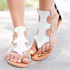 De mujer PU Tacón plano Sandalias Planos con Banda elástica zapatos