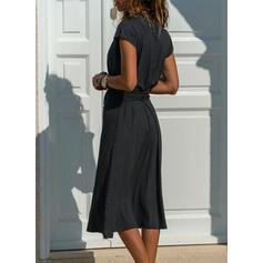 Nadrukowana Krótkie rękawy W kształcie litery A Okrycie/Łyżwiaż Casual Midi Sukienki