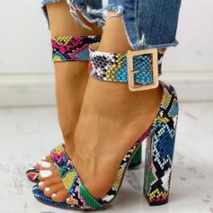 De mujer PU Tacón stilettos Sandalias Encaje con Hebilla Estampado de animales zapatos