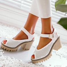 De mujer PU Tacón ancho Sandalias Encaje con Hebilla Agujereado zapatos