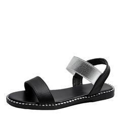 Bayanlar suni deri Düz topuk Sandalet Ile Elastik bant ayakkabı