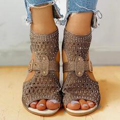 Kvinnor PU Låg Klack Sandaler Platta Skor / Fritidsskor Peep Toe med Strass Ihåliga ut skor