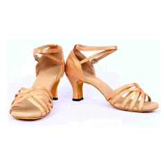 Women's Latin Sandals Satin With Ankle Strap Hollow-out Latin