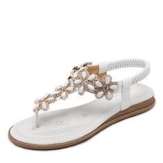 Bayanlar PU Düz topuk Sandalet Peep Toe Ile Yapay elmas Çiçek ayakkabı