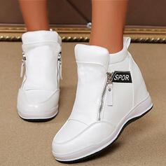 De mujer PU Tacón plano Botas con Cremallera zapatos
