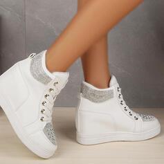 Femmes PU Talon plat Plateforme Chaussures plates Tennis avec Strass Dentelle chaussures