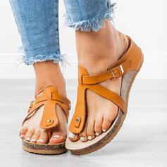 De mujer PU Tipo de tacón Sandalias Encaje Pantuflas con Rivet Hebilla zapatos