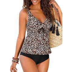 Leopard Imprimeu Curea Decolteu în V Sexy Tankini Mayolar