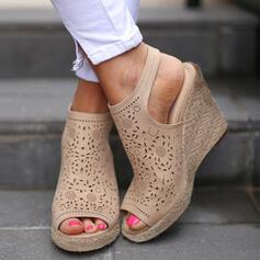 De mujer PU Tipo de tacón Sandalias Cuñas con Agujereado zapatos