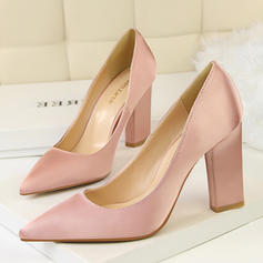 Pentru Femei Satin Toc gros Încălţăminte cu Toc Înalt Închis la vârf pantofi