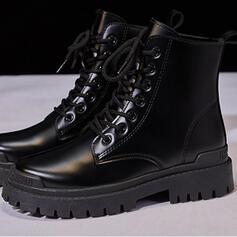 Pentru Femei PU Toc jos Fară Toc Toc gros Altele Cizme Botine Cizme de Iarnă Top sus Deget rotund cu Lace-up Culoare solida pantofi