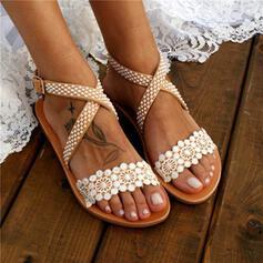 Dla kobiet Koronka PU Płaski Obcas Sandały Otwarty Nosek Buta Bez Pięty Z Kwiaty W kratke obuwie
