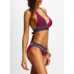 Triangle Taille Basse Imprimé Dos Nu À La Mode Rétro Bikinis Maillots De Bain