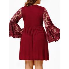 Koronka/Jednolita Długie rękawy/Rozkloszowane rękawy Pokrowiec Nad kolana Mała czarna/Elegancki Sukienki
