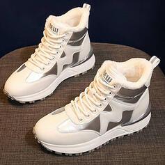 De mujer PU Tipo de tacón Botas de nieve Botas de invierno con Cordones Piel Sintética Color de empalme zapatos