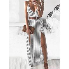 Striped Sleeveless Sheath Slip Casual/Vacation Maxi Dresses