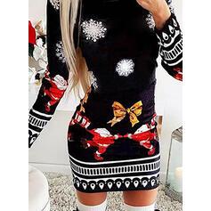 Minta Hosszú ujjú Testre simuló ruhák Térd feletti Karácsony/Hétköznapokra φορέματα