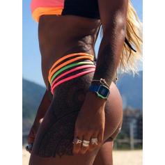 Color de Empalme Ata para arriba Hombros Descubiertos Atractivo Llamativo Asombroso Bikinis Trajes de baño