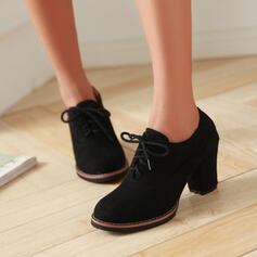 Pentru Femei Piele de Căprioară Toc jos Toc gros Toc con Cizme Botine Vârf scăzut cu Splice Color Culoare solida pantofi