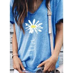 Nadruk Kwiatowy Dekolt w kształcie litery V Krótkie rękawy Casual T-shirty