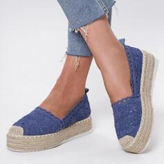 Pentru Femei Material călcâi plat Balerini cu De la gât înafară pantofi