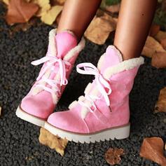 Donna Camoscio Zeppe Stivali altezza media Stivali da neve Punta rotonda Stivali invernali con Allacciato Colore solido scarpe