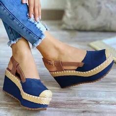 Kvinder Klud Kile Hæl sandaler Kiler Round Toe med Spænde Delt Bindeled Splejsefarve sko