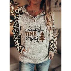 クリスマス 印刷 ヒョウ 文字 フード付き 長袖 クリスマス・スウェットシャツ