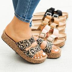 Kvinnor PU Flat Heel Sandaler Peep Toe Tofflor med Spänne Animaliska Tryck skor