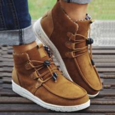 Femmes PU Talon plat Chaussures plates Haut haut Tennis Glisser sur avec Dentelle Patchwork chaussures