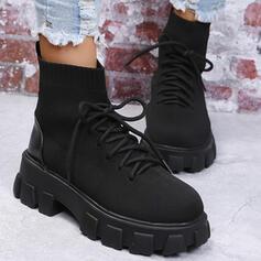De mujer Tejido Tacón ancho Plataforma Botas longitud media Martin botas con Cordones Color sólido zapatos