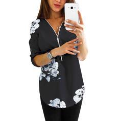 Print Floral V-Neck Long Sleeves Casual Elegant Blouses