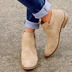 Mulheres Camurça Sem salto Bota no tornozelo com Zíper sapatos