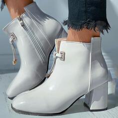 De mujer PU Tacón ancho Botas al tobillo Martin botas Punta cuadrada con Cremallera Cordones zapatos