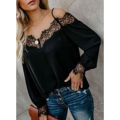 Jednobarevný Krajka Odhalená ramena Dlouhé rukávy Neformální Sexy Bluze