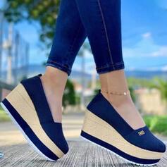 De mujer Tela Malla Tipo de tacón Sandalias Cuñas Encaje Tacones con Color sólido zapatos