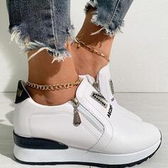 Women's PU Flat Heel Flats Low Top Sneakers With Rhinestone Zipper Splice Color Print shoes
